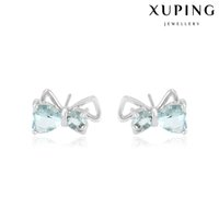 Wholesale Bowknot Colorful Earrings - Xuping Brand Young Girl Lovely Bowknot Ear Stud Colorful Zirconia Jewelry Earrings for Date Wholesale Rhodium Plated Copper 1DH-18-0K003