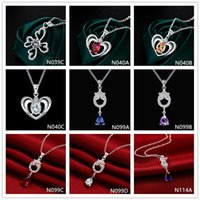 Wholesale mixed style slide charms resale online - Hot sale fashion women s gemstone silver necklaces pendant pieces mixed style sterling silver pendant necklaces GTN26