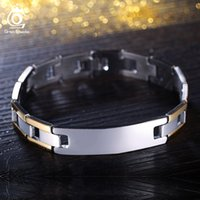 Wholesale Unique Bracelet Designs - Unique Design Gold Plated Stainless Steel Bracelet Silver Color 210 mm Charm Bracelet for Men GTB03