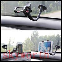 поворотный кронштейн оптовых-360 градусов вращающийся Универсальный автомобильный держатель лобовое стекло кронштейн для Iphone 5SE 6 плюс Samsung Galaxy S5 S6 Примечание 5 GPS Mp4 держатель