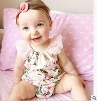 Wholesale Korean Baby Girl Summer Fashion - 2016 Baby Girls rompers New Floral Lace Princess Toddelr Jumpsuit Korean Fashion Cotton Printed Onesie Summer Infant one piece 6306