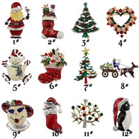 Wholesale Bohemian Shoes - New Christmas brooches rhinestone enamel crystal snowman tree Shoes Bells penguin Apparel Brooch Pins For women's Fashion Jewelry Gift