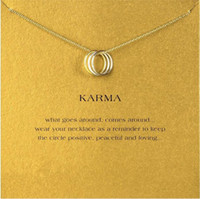 Wholesale Three Gold Circles Pendant - Three-Ring Penant Necklace Choker Dogeared Karma Women Female Fashion Clavicle Statement Jewelry Gift Free Ship Wholesale