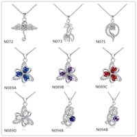 Wholesale Cheap Best Silver Chains - Best gift fashion women's gemstone 925 silver necklaces pendant 10 pieces mixed style,cheap sterling silver pendant necklaces GTN8