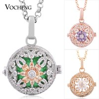 blossom maternity - Cage Locket Box Baby Chime Blossom Stainless Steel Chain Colors Filled Cubic Zirconia Maternity Necklace VOCHENG VA