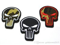 Wholesale Patch Airsoft - 2.2*3 inch 3D Embroidered Patch with magic tape the Punisher Skull COMBAT MORALE MILSPEC MILITARY AIRSOFT ISAF ACU sew on patch GPS-012