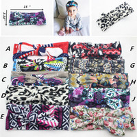 Wholesale Leopard Headband Bow - 10 color Baby Bow Headband Girls Bohemian bunny Hairband leopard flower printed Baby 15*3.34 inch u pick color Hair Accessories B001