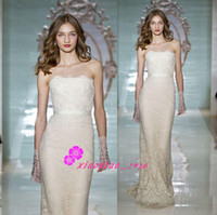 Wholesale Reem Acra Sweetheart Sheath Gown - Reem Acra Design 2016 Bodycon Wedding Dresses Sheath Column Full Lace Ribbon Sequins Strapless Sweetheart Sweep Train Bridal Gowns Cheap