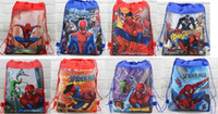 Wholesale Spiderman Kids Bags - wholesale 12pcs Children's Cartoon Spiderman Non-woven Drawstring backpack party School bag Shopping Bags Gift for Kids