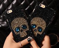 Wholesale Diamond Bling Iphone4 Case - COOL 3D skull style Rhinestone diamond shiny bling cover case for iphone4 5S iphone6 6S iphone6 plus