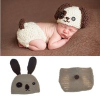 Wholesale Crochet Puppy Hats - Lovely Puppy Dog Newborn Baby Outfits Knitted BABY Boys Coming Home Clothes Set Crochet Infant Baby Animal Costume