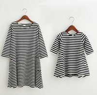 Wholesale Mother Daughter Parent - Girls INS striped Dress Long Sleeve Princess casual Dresses Mother and daughter Parent- child Family INS dress