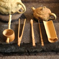 Wholesale Chinese Tea Set Bamboo - Wholesale - 5 Pcs Bamboo Tea Sets Handmade Tea Tools Include Needle  Spoon  Clip  Tea Strainer Vintage Chinese kung fu Tea Set of Drinkware