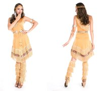 Wholesale Native Indian Costumes - Halloween costume uniforms temptation sexy Women Native American Indian Wild West Fancy Dress Party Costume Tassels Feather grass skirt