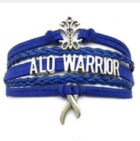 Wholesale Cheap Butterfly Charms - cheap new style 10pcs lot Drop Shipping ALO warrior Blue Leather Handmade Apraxia Butterfly Cancer Awareness Bracelet diy handmade jewelry