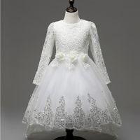 UK long sleeves wedding dress princess - Weddings Events Kids Formal Wear Accessories Flower Girls' Dresses 2017 princess Ball Gown Lace Long sleeve Hook bud silk TuTu skirt Dress