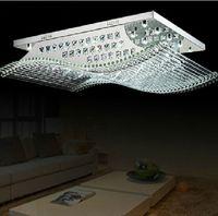 modern avizeler kristal kare toptan satış-Modern Kare kristal ışıkları K9 kristal avize tavan lambası oturma odası için ışık kaynakları ile LED ev aydınlatma