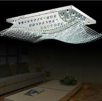 moderna araña de luces cuadradas al por mayor-Moderna lámpara de techo de araña de cristal con luces de cristal K9 con fuentes de luz para sala de estar Iluminación LED para el hogar