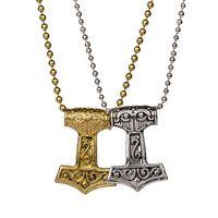 Wholesale Viking Pendant Hammer - Mens Punk Necklace Vintage Norse Viking Thor Hammer Mythology God Necklaces Jewelry 4062-5