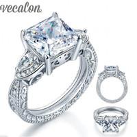 anéis de casamento de prata e prata puro venda por atacado-Vecalon Marca Antique Jewelry Feminino anel 5ct Simulado de diamante Cz Puro de Prata Jóias Anel de Noivado Banda de casamento para as mulheres