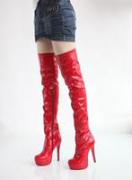 sapatos de joelho branco alto venda por atacado-Botas De Couro de Patente Branco over-the-knee sapatos de casamento noiva vermelho plus size 40 41 42 de salto alto 13 CM Plataforma 3 CM EUR Tamanho 34-43