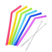 Wholesale Food Drunk - Hot ! Colored Food Grade Silicone Straw for 30oz cup Silica Gel Drinking Straw with brush