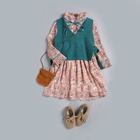 Wholesale Girl Summer Vests Candy Color - Everweekend Girls Autumn Candy Floral Dress with Knitted Vests 2pcs Sets Autumn Outfits Sweet Children Fashion Clothing