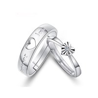 """Wholesale Couple Forever - 1 Pair Adjustable """"Forever Love"""" 925 Sterling Silver Diamond Cut Zircon Ring Set Couples Promise Engagement Wedding Band"""