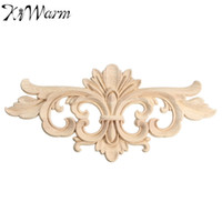 Wholesale vintage decals - Wholesale- KiWarm Vintage Unpainted Wood Carved Decal Corner Onlay Applique Frame For Home Furniture Wall Cabinet Door Decor Crafts 22*10cm