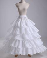 Wholesale Hoop Slip Bone - Ball Gown Petticoats 4 Hoops 5 Layers Slip Bridal Crinoline 4 Bone Full Hoop Bridal Crinoline Petticoat Skirt Slip Ruffles White