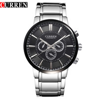 Wholesale Precision Military - Free Shipping Hot sale Curren Mens Big dial quartz stainless steel precision inveted Business Military watch waterproof Dropship onlinebuye