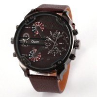 Wholesale Military Numbers - Fashion Men Watch Multi Movt Numbers Strips Hours Marks Big Dial Leather Band Men Quartz Military Wristwatch relogio masculino
