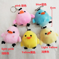 Wholesale Doll Key Chain Charm - New style lovely yellow chicken expression key chain 6 cm plush pendant Charms year mascot chickens hang the doll Expression plush dolls 5