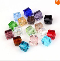 Wholesale Cube Bead 8mm - 200pcs mixture Crystal Square Beads Crystal Beads Faceted Glass Bead for Jewelry Earring 6mm 8mm