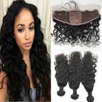 Wholesale silk based weave frontal closure resale online - Virgin Brazilian Water Wave Silk Base Frontal With Bundles Virgin Hair Weave With Silk Top Lace Frontal Closure