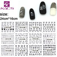 Wholesale Silver Nail Letter Art - Wholesale- KADS 12 Sheet set HBJY025-036 3D Black White Silver Gold nail sticker Letter design Serie nail art stickers decal+self-adhesive