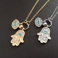 Wholesale Silver Chain Turkey - 2016 New Fashion Gold Silver Turkey Blue Evil Eye Hamsa Hand Fatima Palm Good Luck Chain Necklace For Women Party Jewelry