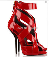 Wholesale Open Loop - Patent-leather sandals fashion red color high heels summer dress shoes for women