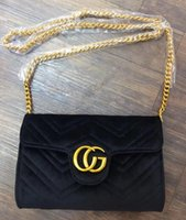Wholesale Quilted Tote Handbag - velvet bag luxury handbags women bags designer suede party bags cloth quilted chain crossbody shoulder bag famous brand bolsas