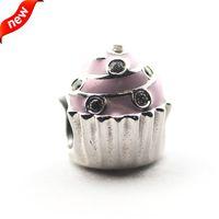 Wholesale Pandora Cupcake - Fits Pandora Bracelets 2016 Sweet Cupcake Silver Beads 100% 925 Sterling Silver Charms DIY Jewelry 08372