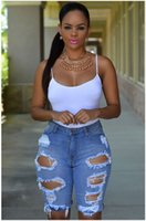 Wholesale Boyfriend High Waisted Jeans - Short Jeans Women 2016 Hot Summer Style High Waisted Ripped Denim Distress Shorts Jeans Casual Hole Rock Boyfriend Jeans Shorts