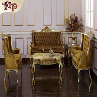 Wholesale Wood Living Room Furniture Sets - Baroque Classic living room furniture- European Classic sofa set with silver and gold leaf gilding -Italian luxury classic sofa set