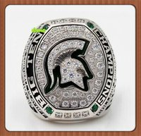 Wholesale Big Ten - 2016 New Arrival 2015 Michigan State Spartans BIG TEN Championship Ring Replica Drop Shipping Replica Silver Plated Alloy Rings For Men
