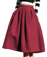 faldas completas hasta la rodilla al por mayor-Venta caliente Stock Color del satén de talle alto acampanado plisado patineta llena Hasta la rodilla falda Vestido de falda de fiesta midi completo