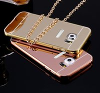 Wholesale Iphone Aluminium Metal Bumper - For iPhone7 Luxury Acrylic Mirror Aluminium Metal Bumper Case For iPhone 5 6 7 6S Plus Samsung Grand Prime S6 S7 Edge A3 A5 A7 2016 J1 J5 J7