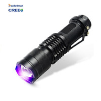 Wholesale ultraviolet lighting - Mini rechargeable UV ultraviolet light to detect 395 nm For 1 * AA   14500 battery