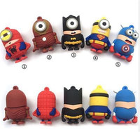Wholesale Superman Cartoon Usb - 64GB 128GB 256GB Cartoon SuperMan Captain America Batman Spiderman Green lantern SuperHero USB 2.0 Flash Drive Memory usb drive DHL