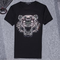 Wholesale Breathable Undershirt - Fashion brand tiger head tshirts O neck youth tshirt mens short Sleeve t shirts for men undershirt cotton Harajuku casual t-shirts original