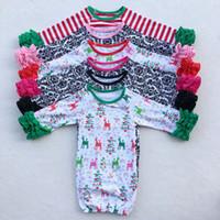 bebek sıcak çanta toptan satış-43 Renkler Şükran Noel Kış Sıcak Fırfır Uyku Tulumları bebek Kundaklama bebek şerit geyik baskı Uyku Tulumu Ücretsiz Nakliye