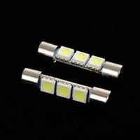 Wholesale 3smd Led - 20Pcs LED Car Light Bulb 31mm 3SMD 6641 12V White Fuse LED Bulb Sun Visor Vanity Mirror Light Universal LED Lamp